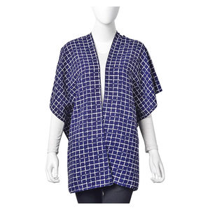 Navy with White Chequer Pattern 100% Polyester Kimono (27.56x35.44 in)