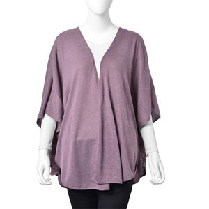 Mauve 80% Polyester & 20% Viscose Open Poncho with Hook and Eye Closure (One Size)