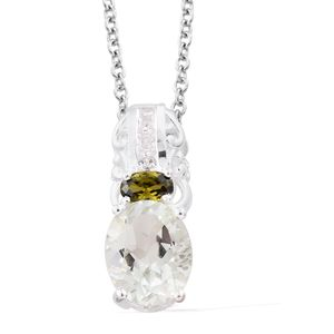 Green Amethyst, Simulated Peridot Diamond, Simulated Diamond Sterling Silver Pendant With Stainless Steel Chain (20 in) TGW 2.96 cts.