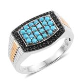 Arizona Sleeping Beauty Turquoise, Thai Black Spinel 14K YG and Platinum Over Sterling Silver Men's Ring (Size 14.0) TGW 1.53 cts.