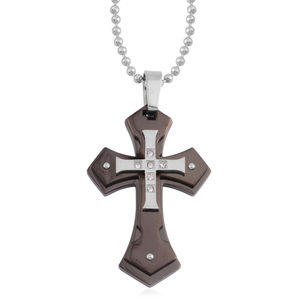 Austrian Crystal ION Plated Black and Stainless Steel Cross Pendant With Chain (24 In)