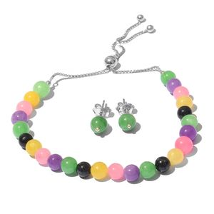 One Day TLV Burmese Multi Color Jade Sterling Silver Stud Earrings and Magic Ball Bracelet (Adjustable) TGW 43.00 cts.