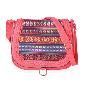 Coral Faux Leather Santa Fe Embroidered Saddle Crossbody Bag (10x3x8.5 in)