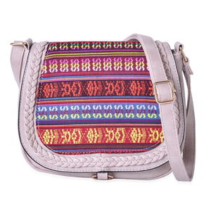 Stone Faux Leather Santa Fe Embroidered Saddle Crossbody Bag (10x3x8.5 in)