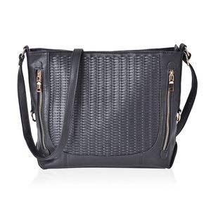Black Faux Leather Weave Crossbody Bag (14x5x10.5 in)