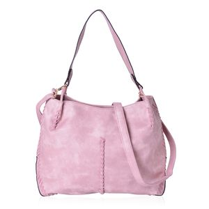 Pink Faux Leather Tote Bag (15.6x5.4x12.4 in) with Handle Drop & Removable Shoulder Strap