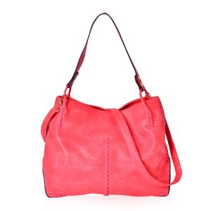 Red Faux Leather Tote Bag (15.6x5.4x12.4 in) with Handle Drop & Removable Shoulder Strap