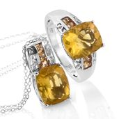 Canary Fluorite, Brazilian Citrine Platinum Over Sterling Silver Ring (Size 9) and Pendant With Chain (20 in) TGW 14.30 cts.