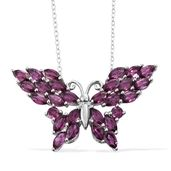 Purple Garnet Platinum Over Sterling Silver Butterfly Pendant With Chain (20 in) TGW 5.16 cts.