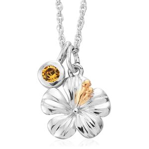 KASI Collection - Always Blossom Platinum and 14K Yellow Gold Over Sterling Silver Pendant and Charm with Chain (16 in) Made with SWAROVSKI Crystal Total Gem Stone Weight 0.20 Carat