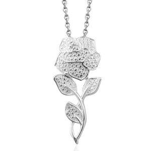 Diamond Sterling Silver Accent Pendant With Stainless Steel Chain (20 in)
