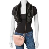Black 100% Polyester Faux Fur Scarf and Peach Faux Fur Crossbody Bag (7.09x5.91 in)