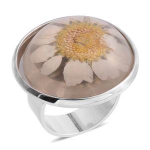 Silvertone Flower Petal Ring (Adjustable)