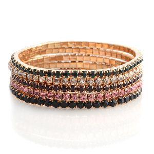 Multi Color Austrian Crystal Goldtone Set of 5 Bracelet (6.00 In)