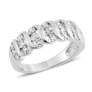 Diamond Accent Silvertone Ring (Size 7.0)