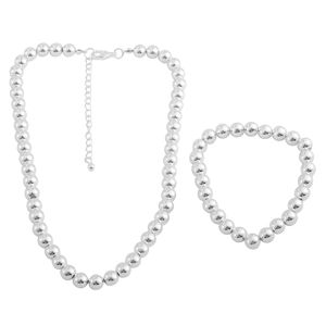Silvertone Bracelet (7 in) and Necklace (16.00 In)