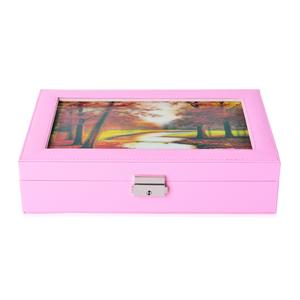 Pink Leather 2 Layer Jewelry Box with 3D Forest Painting (11x7.5x2.8 in)