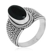 Bali Legacy Collection Thai Black Spinel Sterling Silver Ring (Size 6.0) TGW 6.30 cts.