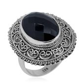 Bali Legacy Collection Thai Black Spinel Faceted Sterling Silver Ring (Size 10.0) TGW 13.23 cts.