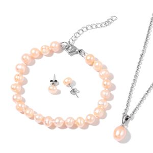 Freshwater Pearl - Peach Stainless Steel Bracelet (7.50 in), Earrings and Pendant With Chain (24.00 In)