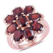 Mozambique Garnet 14K RG Over Sterling Silver Flower Ring (Size 9.0) TGW 8.60 cts.
