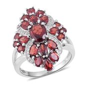 Mozambique Garnet, White Zircon Sterling Silver Ring (Size 5.0) TGW 6.10 cts.