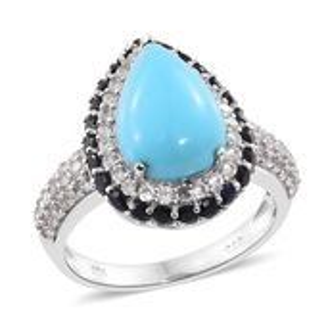 Arizona Sleeping Beauty Turquoise, Kanchanaburi Blue Sapphire, Cambodian Zircon Platinum Over Sterling Silver Ring (Size 7.0) TGW 8.50 cts.