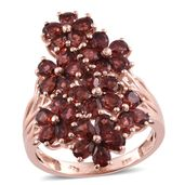 Mozambique Garnet 14K RG Over Sterling Silver Cluster Ring (Size 10.0) TGW 7.75 cts.
