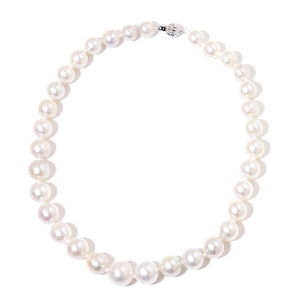 18K WG South Sea White Pearl (9.5-13 mm) Beaded Necklace (18 in)