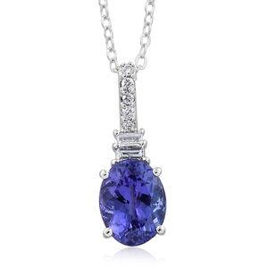 ILIANA 18K WG Premium AAA Tanzanite, Diamond Pendant With Chain (18 in) TDiaWt 0.10 cts, TGW 1.75 cts.