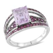 Rose De France Amethyst, Orissa Rhodolite Garnet Sterling Silver Bridge Ring (Size 5.0) TGW 4.50 cts.