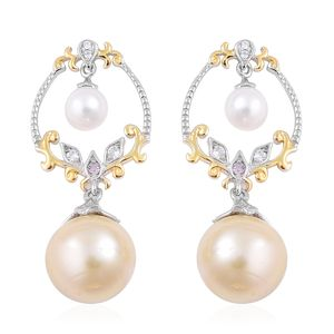 South Sea Golden Pearl (10-10.5 mm), Multi Gemstone 14K YG and Platinum Over Sterling Silver Drop Earrings TGW 0.18 cts.