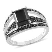 Thai Black Spinel Sterling Silver Bridge Ring (Size 5.0) TGW 5.16 cts.