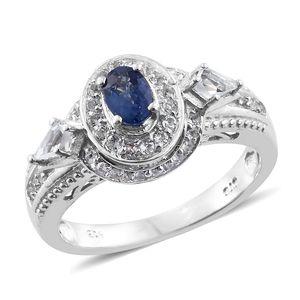 Ceylon Blue Sapphire, White Topaz Platinum Over Sterling Silver Ring (Size 5.0) TGW 1.56 cts.