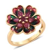 GP Niassa Ruby, Enameled 14K YG Over Sterling Silver Flower Ring (Size 6.0) TGW 2.35 cts.