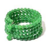 Burmese Green Jade Beads Silvertone Wrap Bracelet (6.50 In) TGW 316.00 cts.