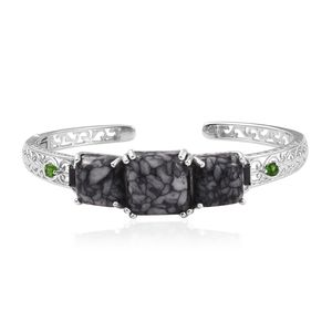 Austrian Pinolith, Thai Black Spinel, Russian Diopside Platinum Over Sterling Silver Cuff (7.25 in) TGW 34.14 cts.
