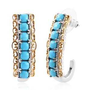 Arizona Sleeping Beauty Turquoise 14K YG and Platinum Over Sterling Silver Elongated J-Hoop Earrings TGW 4.00 cts.