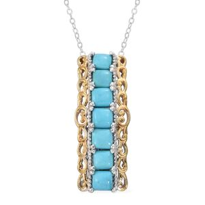 Arizona Sleeping Beauty Turquoise 14K YG and Platinum Over Sterling Silver Pendant With Chain (20 in) TGW 2.00 cts.
