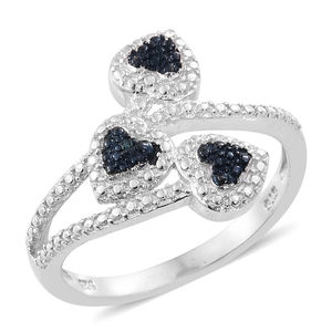 Blue Diamond Accent (IR) Blue Rhodium & Platinum Over Sterling Silver Heart Bypass Ring (Size 7.0)