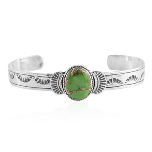 Santa Fe Style Mojave Green Turquoise Sterling Silver Cuff (7.00 In) TGW 0.80 cts.