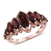 Mozambique Garnet 14K RG Over Sterling Silver Ring (Size 7.0) TGW 5.30 cts.