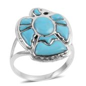 Santa Fe Style Kingman Turquoise Sterling Silver Eagle Ring (Size 10.0) TGW 2.50 cts.