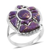 Santa Fe Style Mojave Purple Turquoise Sterling Silver Eagle Ring (Size 8.0) TGW 2.50 cts.