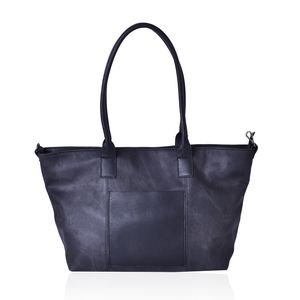 Black Faux Leather Tote Bag (20x14x11.6 in)