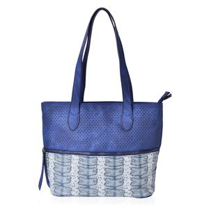 Navy Faux Leather Tote Bag (14x11.6x10.4 in)