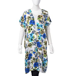 Green 100% Viscose Multi Color Flower Print Open Sleeveless Cardigan (One Size)