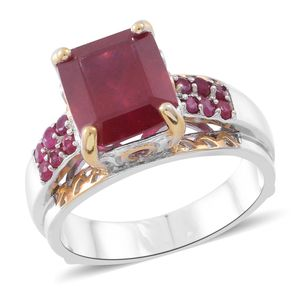 Niassa Ruby, Ruby 14K YG and Platinum Over Sterling Silver Bridge Ring (Size 7.0) TGW 10.54 cts.