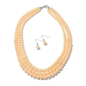 Peach Glass Pearl Silvertone and Stainless Steel Earrings and Necklace (20 in) TGW 603.00 cts.