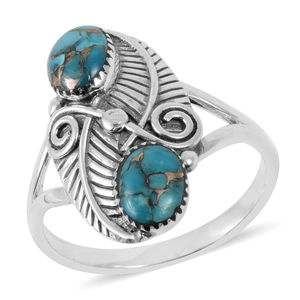 Santa Fe Style Mojave Turquoise Sterling Silver Ring (Size 8.0) TGW 6.00 cts.
